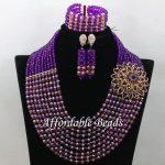 Royal Blue&Orange Nigerian Wedding Beads Lovely Hand <b>make</b> Bridal <b>Jewelry</b> Sets Long Necklace Earrings Bracelets for wedding G003