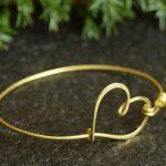 Dainty knot bangle bracelet Wedding Bridesmaid Bracelet <b>Handmade</b> <b>Jewelry</b> with Heart Wire Wrap Personalized bridesmaid jewelery