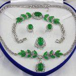 Women's Wedding Miss charm Jew.179 Green stone Necklace Bracelet Ring Sets real silver-<b>jewelry</b>
