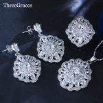 ThreeGraces Fashion Ladies <b>Jewelry</b> Set Sparkling White Cubic Zirconia Crystal Flower 925 Sterling Silver Sets For Women JS192