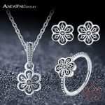 ANFASNI Fashion 100% 925 Sterling <b>Silver</b> Openwork Flower Floral Daisy Lace Jewelry Sets For Women Wedding Party PSST0016-B