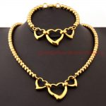 Cute Design Womens Fashion Hollow Heart 6/8mm Ball Beads Pure <b>Handmade</b> Chain Necklace & bracelet Set Gold color Xmans Gift