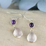 Hot sale natural green amethyst quartz gemstone Dangle hook Earrings Pure 925 <b>Sterling</b> <b>Silver</b> Fine <b>Jewelry</b> For Women