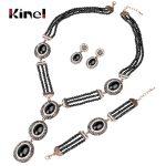 Kinel 3pcs Black Natural Stone Bohemia <b>Jewelry</b> Sets <b>Handmade</b> Beaded Big Pendant Necklace Earring Bracelets For Women Luxury Gift