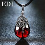 EDI 4.6*2.3cm Flower Shape Gemstone Garnet Pendants 925 Sterling <b>Silver</b> Natural Chalcedony Necklace For Women <b>Jewelry</b>