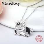 New arrival 925 sterling silver cute animal Cows pendant chain necklace with black enamel diy fashion <b>jewelry</b> <b>making</b> women gift