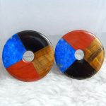 Round Red River jasper Tiger'eye Lapis Lazuli obsidian Intarsia Round Gemstone Earring Bead Colorful <b>Supplies</b> 29x3mm 9.3g