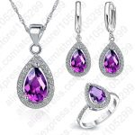 JEXXI Free Ship Purple/Red/Blue <b>Jewelry</b> Sets Water Drop Cubic Zirconia Stone 925 Sterling Silver Earrings Necklaces Finger Rings