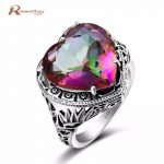 Elegant Heart Ring Fire Rainbow Mystic Topaz CZ Stone Wedding <b>Jewelry</b> 925 Sterling <b>Silver</b> Ring Engagement Promise Love Rings