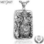 MetJakt Men's <b>Jewelry</b> <b>Silver</b> Guan Yu Pendant Solid 4mm 925 <b>Sterling</b> <b>Silver</b> Chain Necklace Vintage Chinese Culture <b>Jewelry</b>