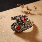 L&P New Arrival Chiang Mai Thai Silver Garnet Ring For Women Original <b>Handmade</b> Vintage 925 Sterling Ring Fine <b>Jewelry</b> Wholesale