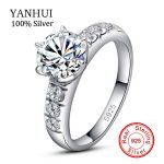 YANHUI 100% Original Solid 925 Silver <b>Wedding</b> Rings For Women Set 6mm 1 Carat CZ Diamant Engagement Rings Bridal <b>Jewelry</b> LER055