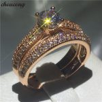 choucong Genuine 6mm 5A Zircon Stone Ring Set Rose Gold Filled 925 Silver Engagement <b>Wedding</b> Band Rings for women <b>Jewelry</b>