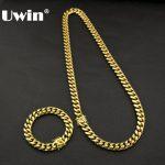 Uwin Mens 8mm&10mm&14mm Miami Cuban Link Bracelet&Chain Set Box Clasp <b>Necklace</b> 316L Stainless Steel Heavy Hiphop <b>Jewelry</b> Set