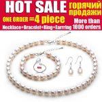Wedding natural pearl <b>jewelry</b>,bridal <b>jewelry</b> sets women White freshwater pearl sets 925 <b>silver</b> earring girl birthday best gift