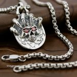 Solid 925 Sterling <b>Silver</b> Claw Skull Red CZ Eyes Mens Biker Pendant 8X017 (<b>Necklace</b> 24inch)