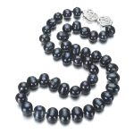 SNH 11-12mm AA black potato Real Freshwater Natural Pearl <b>Necklace</b> New Pearl 925 Sterling <b>Silver</b> <b>Necklace</b> 18 Inches Cultured