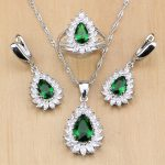 Green Zircon White CZ 925 Sterling Silver Anniversary <b>Jewelry</b> Sets For Women <b>Accessories</b> Earrings/Pendant/Necklace/Rings