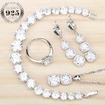 Women White Zircon Silver 925 <b>Jewelry</b> Sets Bracelets Pendant Necklace Rings Earrings With Stones Set Jewelery Free Gift Box