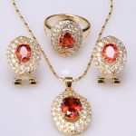 2017 New Style Enchanting Red Garnet White Gems Gold Color Jewelry Sets <b>Earrings</b> Pendant Rings S8616