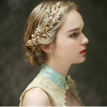 Romantic pearl bridal hair comb gold leaves bridal hair accessories handmade wedding hair ornaments women hair <b>jewelry</b>