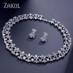 ZAKOL Luxury Women <b>Jewelry</b> Sets Flower Pave Zircon <b>Necklace</b> Earrings Set Clear <b>Jewelry</b> For Bride Wedding Dinner Dress FSSP296