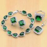 925 Sterling <b>Silver</b> Jewelry Green CZ White Zircon Jewelry Sets For Women Earrings/Pendant/Necklace/Rings/<b>Bracelet</b>