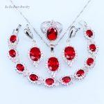 L&B Red Created Garnet White Zircon <b>Silver</b> color Romantic Jewelry Sets For Women <b>Bracelet</b>/pendant/Necklace/Earrings/Ring
