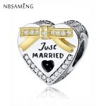 Authentic 925 Sterling Silver Bound By Love Just Married Charm Beads Fit Pandora Original Bracelet Luxury DIY <b>Jewelry</b> <b>Making</b>