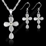 JEXXI Fashion Jewelry Sets 925 Sterling <b>Silver</b> Cross Crystal Pendant <b>Necklaces</b> Hook Earrings For Women Best Gifts Free Ship