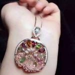 natural tourmaline pendant 925 <b>Sterling</b> <b>silver</b> Natural gemstone Pendant Necklace trendy Phoenix round women girl <b>jewelry</b>