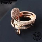 FANSER Three Round Pin Ring Rose gold color Genuine 100% S 925 Pure <b>Silver</b> Zircon Separate Has marked Women Classic <b>Jewelry</b>