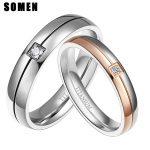 2Pcs 4mm 5mm <b>Wedding</b> Couple Titanium Ring Set For Lovers Silver Rose Gold Color Crystal CZ Men Women Engagement <b>Wedding</b> <b>Jewelry</b>