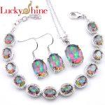 Luckyshine Mix 3PCS 1 Set Unique Fire Rainbow Crystial Cubic Zirconia <b>Silver</b> Earrings <b>Bracelets</b> Necklaces PendantJewelry Sets