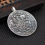 FNJ 925 <b>Silver</b> Zodiac Pendant Round Buddha 100% Pure S925 Solid Thai <b>Silver</b> Pendants for Women Men <b>Jewelry</b> Making