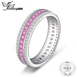 JewelryPalace 1.4ct Princess Cut Created Pink Sapphire Cubic Zirconia Wedding Bands Rings For Women 925 Sterling <b>Silver</b> <b>Jewelry</b>