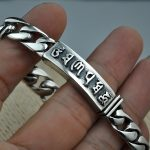 s925 Sterling <b>Silver</b> <b>Bracelets</b> For Women And Men Six Words Om Mani Padme Hum Engraved Buddhism Jewelry