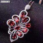 Lady Natural garnet gems necklace pendant Genuine colored tones women fine <b>jewelry</b> 925 <b>sterling</b> <b>silver</b>