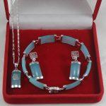 Women's Wedding Wholesale lovely /silver blue gem earrings, bracelet & pendant fashion set006 brinco real silver mujer