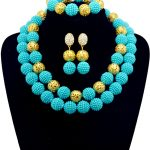 Light Blue Nigerian Wedding African Beads Imitation Pearl Ball <b>Jewelry</b> Set <b>Handmade</b> Indian Dubai Bridal Necklace Sets Free