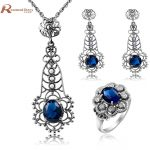 Trendy Square Design Charm Blue CZ Stone Crystal Vintage Solid 925 Sterling <b>Silver</b> Set Wedding Accessories Bride Jewelry Set