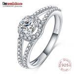 LZESHINE New Arrival 2016 Women Pure 925 Real Sterling Silver <b>Jewelry</b> Alluring Brilliant Wedding Ring Aneis Delicado SRI0008-B