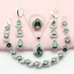 WPAITKYS Multicolor Cubic Zirconia <b>Silver</b> Color Jewelry Sets For Women Drop Earrings <b>Bracelet</b> Necklace Ring Free Gift Box