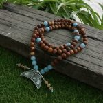 8mm <b>Antique</b> Onyx And Amazonite Stone Beads Necklace, Strengthen Courage Mala, 108 Bead Mala, Mala <b>Jewelry</b>, Mala Prayer Beads