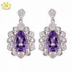 Hutang Stone <b>Jewelry</b> Solid 925 <b>Sterling</b> <b>Silver</b> 5.26 ct Natural Gemstone Brazilian Amethyst Romantic Earrings Fine <b>Jewelry</b> Gift
