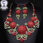 HanCheng New Fashion Luxury Bohemian Leaf Rhinestone Flower Crystal Statement <b>Necklace</b> Women <b>Jewelry</b> leagtha Golden collier