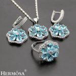 Turkish Jewelry 925 Sterling <b>Silver</b> Rosary Flower Blue Bridal Wedding Set <b>Necklace</b> Earring Ring Sz.8.5