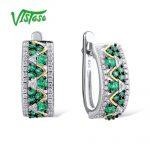 VISTOSO 925 Round Green Spinel <b>Sterling</b> <b>Silver</b> Stud Earrings <b>Jewelry</b> Round White Cubic Zircon Luxury Ear Stud Earrings For Women