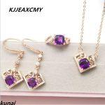 KJJEAXCMY Fine jewelry, 925 <b>silver</b> geometric crystal set, 3A zircon Amethyst, women's jewelry three sets