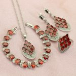 WPAITKYS Pomegranate Red Crystal <b>Silver</b> Color Jewelry Sets For Women Drop Earrings <b>Bracelet</b> Necklace Pendant Ring Free Gift Box